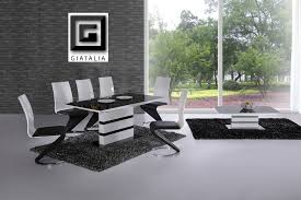 k2 white black glass designer extending dining table only or with 4 6 z