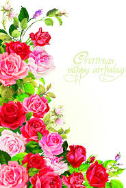 Happy Birthday Flowers Greeting Cards Free Vector In