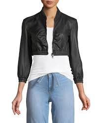 emporio armanizip front cropped ruched waist leather jacket