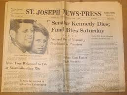 06/06/1968 ST JOSEPH NEWS PRESS NEWSPAPER - SENATOR ROBERT KENNEDY DIES  Final