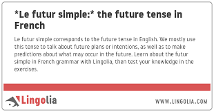 Etre Verb Chart Le Futur Simple The Future Tense In French