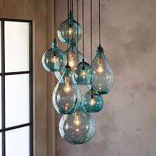 turquoise blown glass chandeliers in cur salon glass pendant canopy limpid turquoise drops of hand