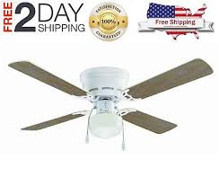 42 hugger indoor ceiling fan with light kit and reversible blades white 4 blade