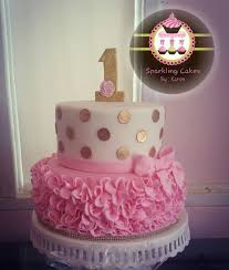 Gold Polka Dots And Pink Ruffle Cake Twins First Birthday