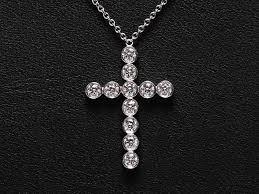 tiffany jazz cross necklace pt950 total about 1ct nature diamond necklace platinum necklace