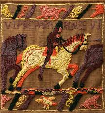 hooked rug wall hanging titled after bayeux