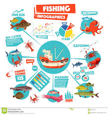 Boat Chart Fishing Infographics Design With Graph Fish Boat Stock