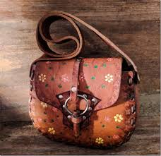 vintage boho brown leather bag styles with fl work