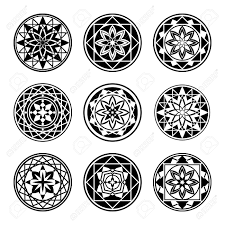 Mandala Elements Tattoo Icon Set Star Floral Stylized Ornament Black Round Signs Harmony Luck Infinity Symbol Vector