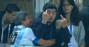 Diego Maradona gives finger as Argentina hit late winner against Nigeria to  reach World Cup last-16
