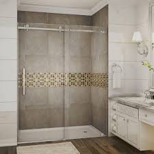 completely frameless sliding shower door in chrome