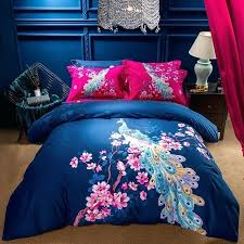 girls queen sheets beautiful peacock bedding set king size bed duvet cover winter cotton textiles oriental