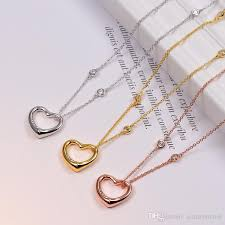 whole heart with cz diamond pendant rose gold silver color necklace for women vintage collar costume jewelry with original box set necklaces for women