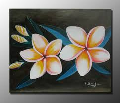 eggs flowers in black background painting canvas modern art