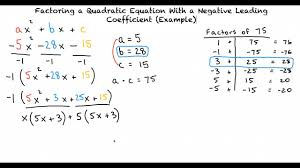 example factoring a quadratic with a negative leading coefficient ac grouping method