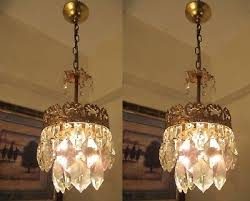 pair of antique vintage french basket style crystal chandelier lamp 1940 s 6 in