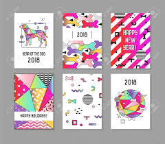 Chinese Calendar Template 2018 New Year Memphis Style Abstract Posters Set With Dog Chinese