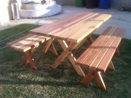 Free Picnic Table Designs Free Plans For Picnic Table With Separate Benches Easy Way