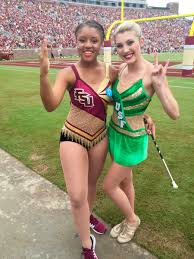 florida state university majorette brittany nesbitt left and florida state university majorette brittany nesbitt left and university of south florida feature twirler