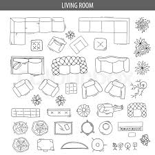 floor plan furniture vector. Isolated Vector Illustration. Furniture And Elements For Living Room, Bedroom, Kitchen, Office. Floor Plan. Sketch Of Furniture, Plan E