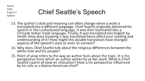 english ii ppt  19 chief seattle s speech