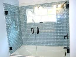glass subway tile shower post gray glass subway tile shower