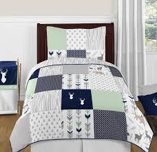 navy blue mint and grey woodsy deer 4pc twin boy bedding set by sweet jojo