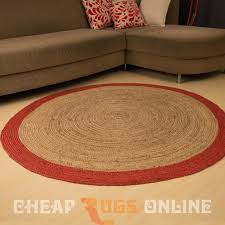 poly border 150cm round jute rug red