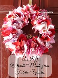 diy wreath made from fabric squares valentine s day wreath