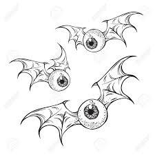 Flying eyeballs with creepy demon wings black and white <b>halloween</b> ...