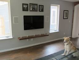 single solid wood floating shelf decoration under wall mounted flat screen tv nice designs ideas
