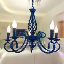 23 5 lights mediterranean chandelier luxury painted blue black iron new modern dining room parlor chandelier bedroom ceiling pendant lamp hanging lights in