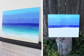 diy ocean painting beach scenen painted on canvas