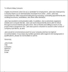 Reference Letter Example Employee Sample Customer Service