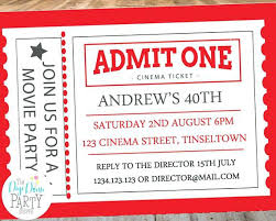 Movie Ticket Party Invitation Template Admit One Invitations
