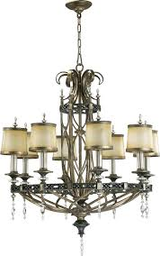 eight light byzantine bronze amber scavo glass up chandelier