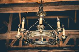 faux candle chandelier in storybook barn