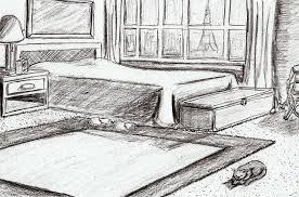 Paris Flat Bedroom Drawing by Kenya Thompson