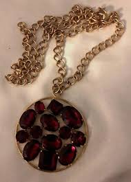 details about long chain vintage enormous ruby red rhinestone inset circular pendant necklace
