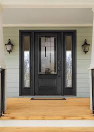 black entry door with modern glass insert and full double sidelites brown fibreglass front