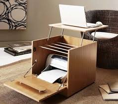 interior smart folding computer desk printer storage into