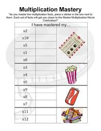 Multiplication Incentive Chart Multiplication Mastery Incentive Chart Movie Incentive