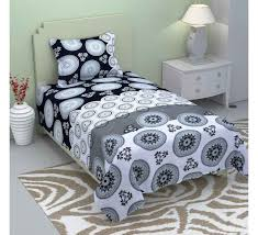 black white circle cotton single bedsheet with 1 pillow cover