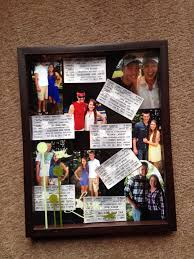 Made a collage of photos in a shadow box from our country megaticket for  the boyfriend
