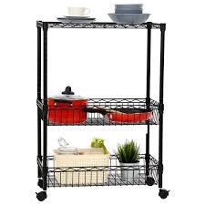 kinbor 3 layer rolling kitchen trolley cart metal wire shelf adjule w baskets
