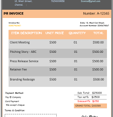 invoice template consulting pr invoice templates for consultants agencies download