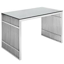 amazoncom modway gridiron stainless steel office desk in silver