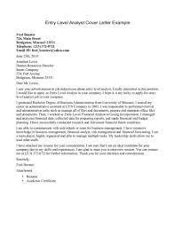Entry Level Cover Letter Example - Letter Idea 2018