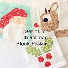 Set of 3 Christmas Quilt Block Patterns Rudolph Holly Jolly & Set of 3 Christmas Quilt Block Patterns Rudolph, Holly Jolly, and Dear  Santa Instructions for 6 inch and 12 inch blocks 15% Savings Adamdwight.com