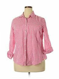 Crown And Ivy Size Chart Nwt Crown Ivy Women Pink Long Sleeve Button Down Shirt Sm